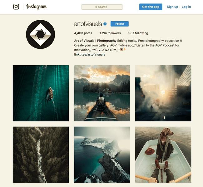 Art of Visuals Instagram account
