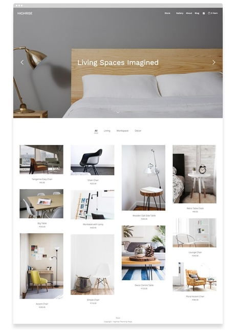 Highrise - An ecommerce theme from Pixpa