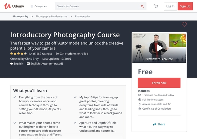 Introductory Photography Course from Udemy