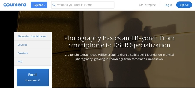Photography Basics and Beyond from Coursera