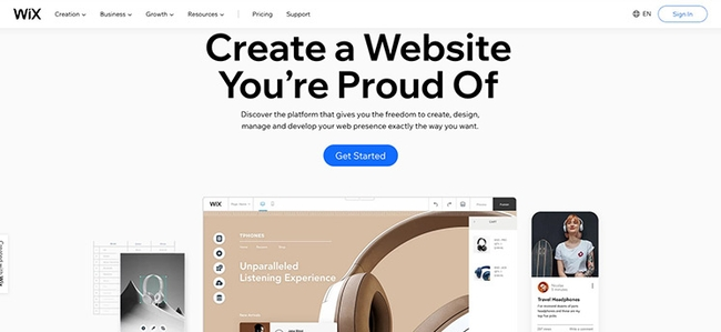Wix, website builder for designers and small business