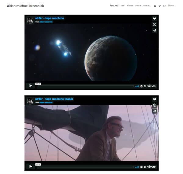 Aidan Brezonick Portfolio Website Examples