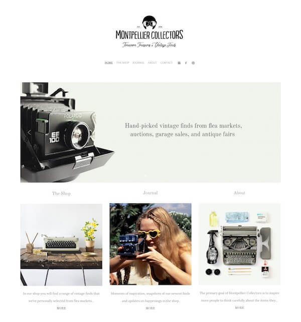 Montpellier Collectors Portfolio Website Examples