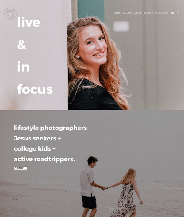 Live and In Focus Portfolio Website Examples