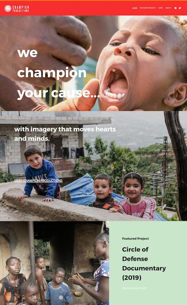 Champion Productions Portfolio Website Examples