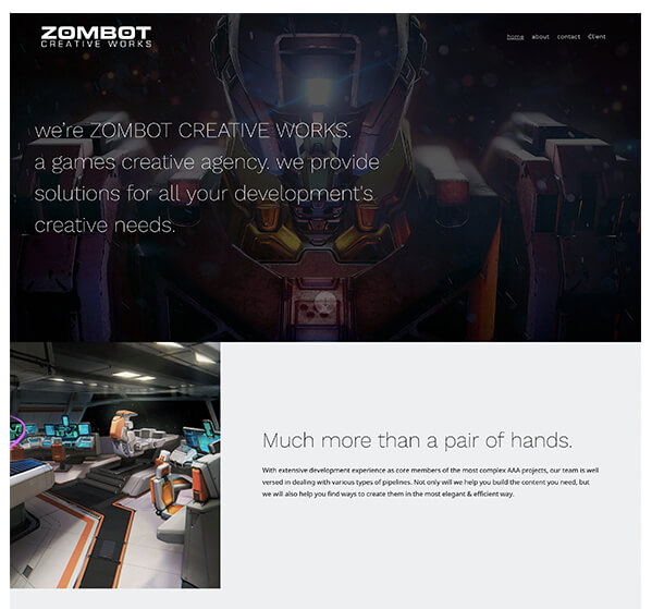 Zombot Portfolio Website Examples