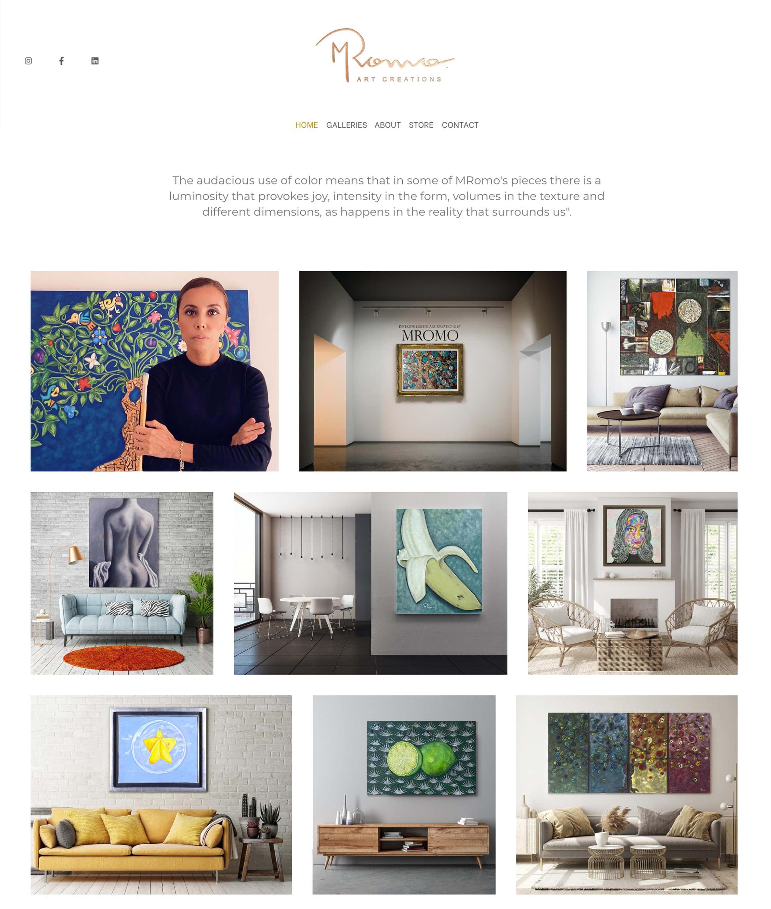 MRomo Art Creations Portfolio Website Examples