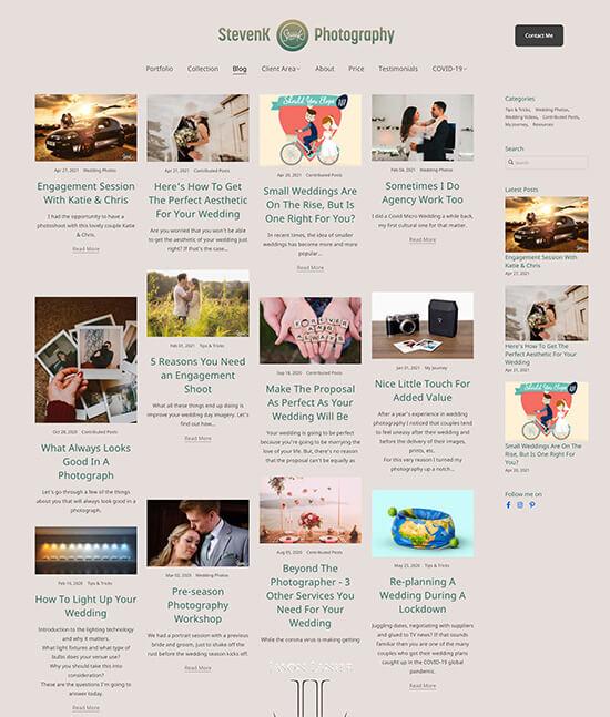 StevenK Photography Portfolio Website Examples