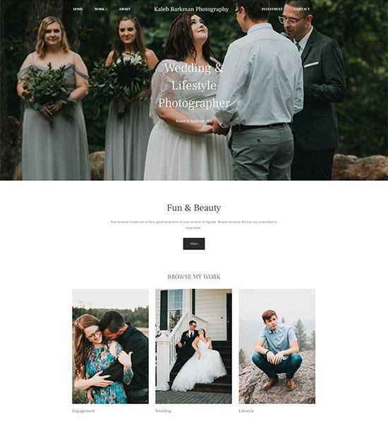 Kaleb Barkman Photography Portfolio Website Examples