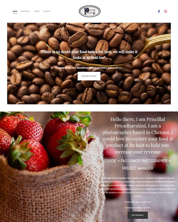 Priscy Photography Portfolio Website Examples