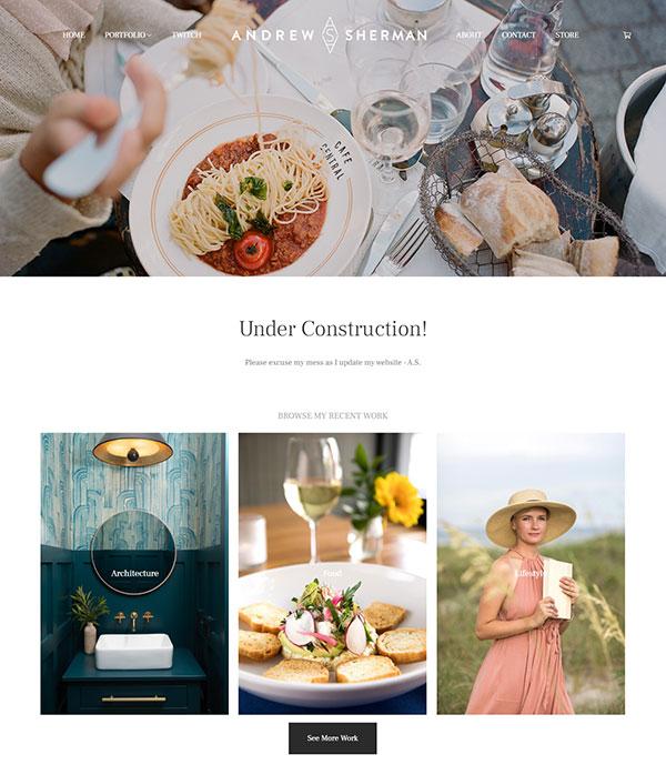 Andrew Sherman Portfolio Website Examples