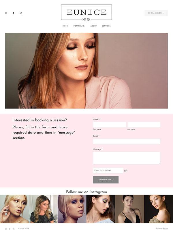 Eunice MUA Portfolio Website Examples