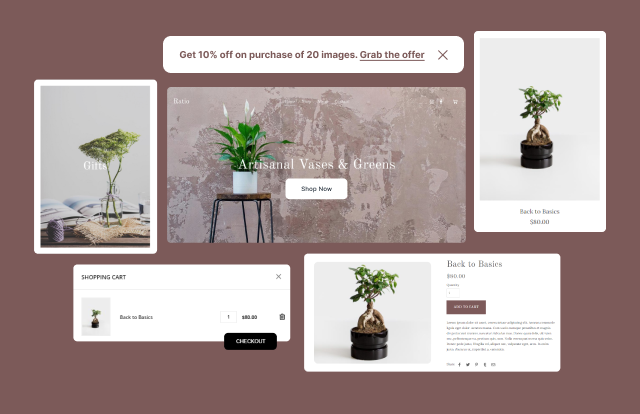 Start selling in minutes with your online store