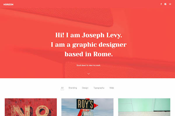 Horizon - Pixpa Portfolio Website Templates
