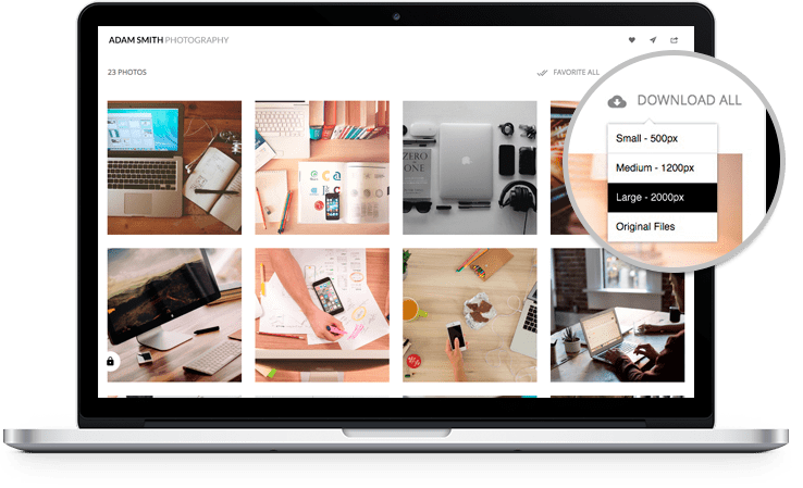 Client Albums Tool: Create Private Galleries, Work with clients, Mark Favorites and deliver files digitally.